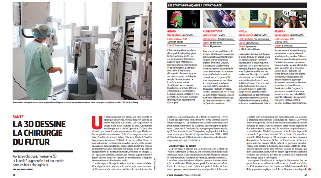 L'Usine Nouvelle Magazine - Article on InSimo and the 3D Virtual Imagery