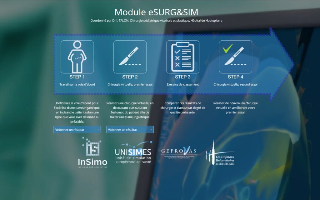 Preview of the Homepage of the Curriculum eSURG&SIM